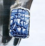 Vintage Ceramic Sailing Ship Necklace by Mike Scott-Straight