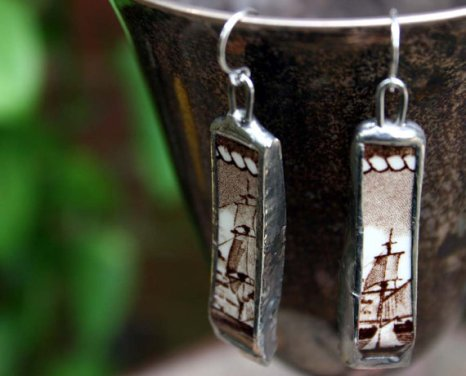 Vintage ceramic sailing ship earrings by Mike Scott-Straight.
